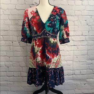 saloni silk floral  dress size 6